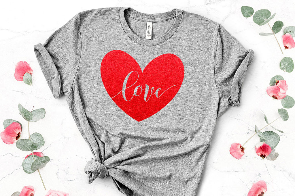 Love heart svg cut file on a women's shirt