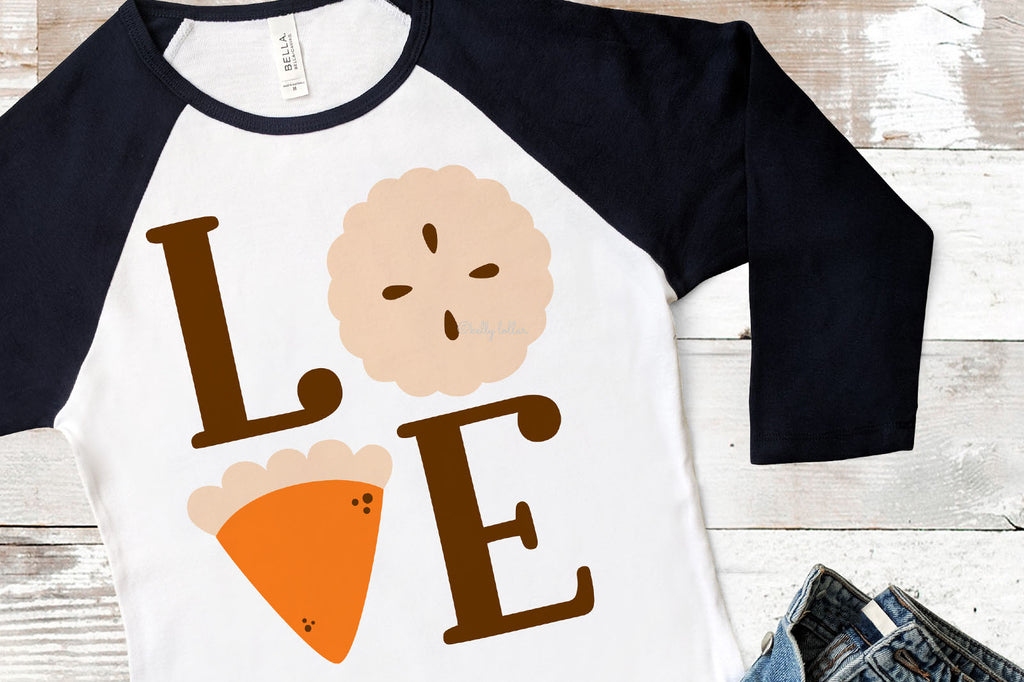 Sample Raglan T-Shirt | Pie Love Thanksgiving SVG DXF EPS PNG Cut Files | Free for Personal Use