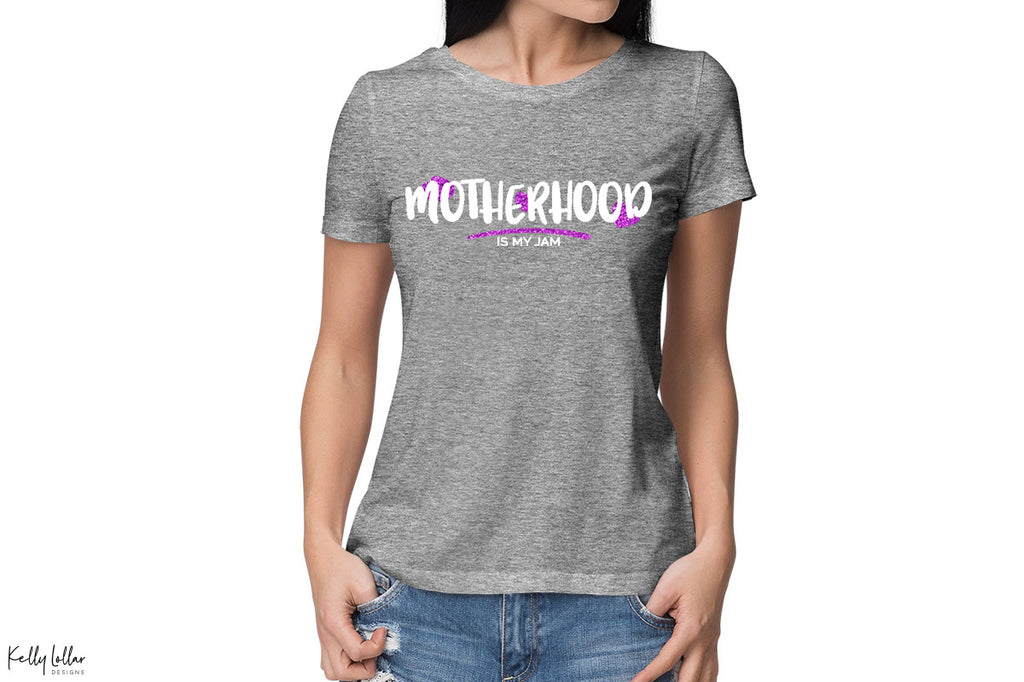 Women's grey t-shirt with the Motherhood Is My Jam svg in white and purple glitter