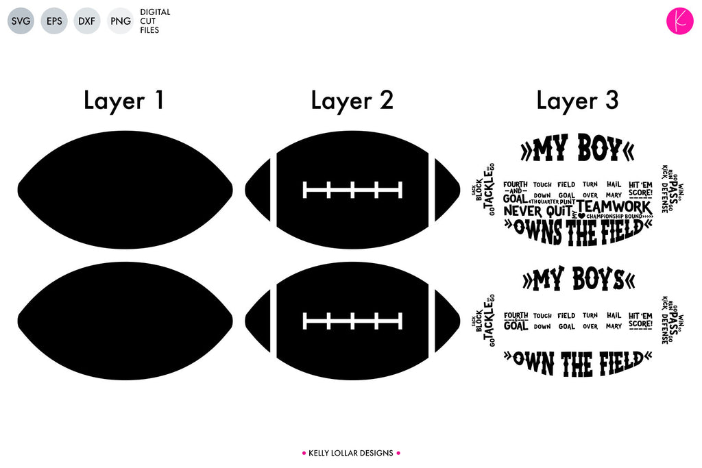 Layer Map of the My Boys Football Cut Files | SVG DXF EPS PNG