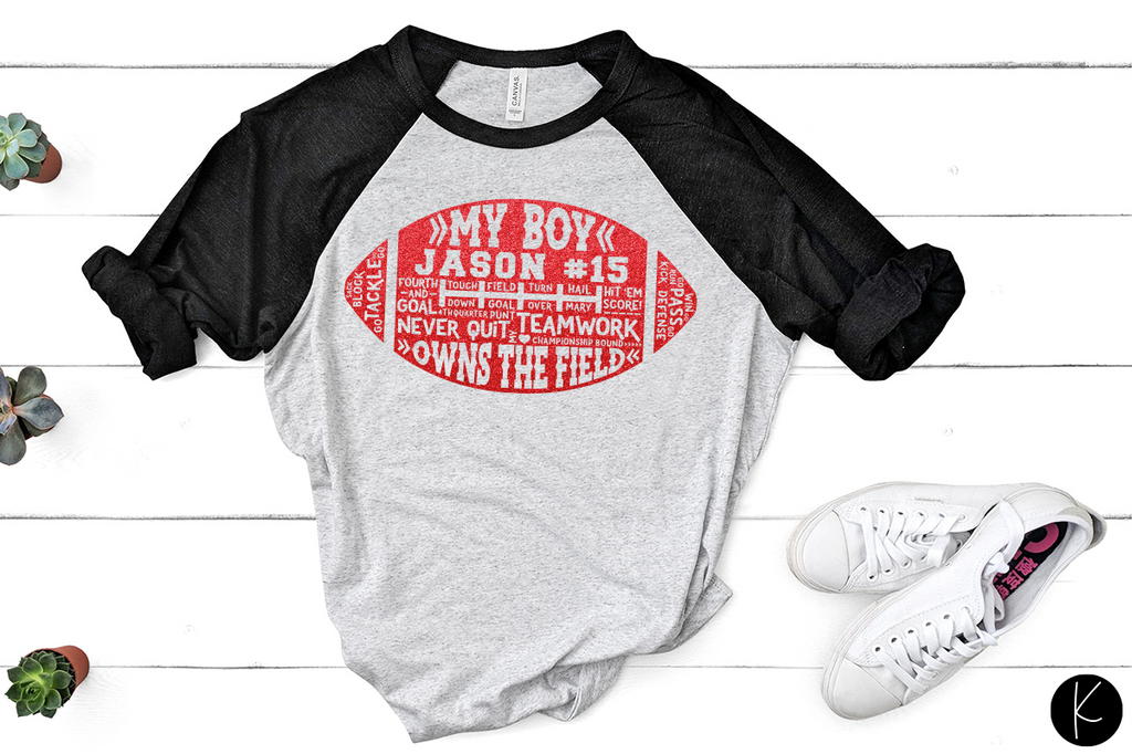 Women's raglan with the single player version of the My Boys Football Cut File | SVG DXF EPS PNG