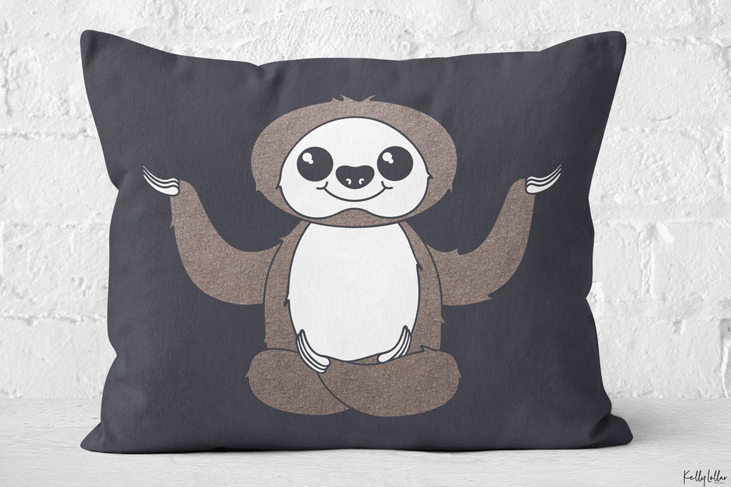 Freebie Friday | Namaste at My Own Pace Kawaii Sloth Cut File on a Throw Pillow | SVG DXF EPS PNG