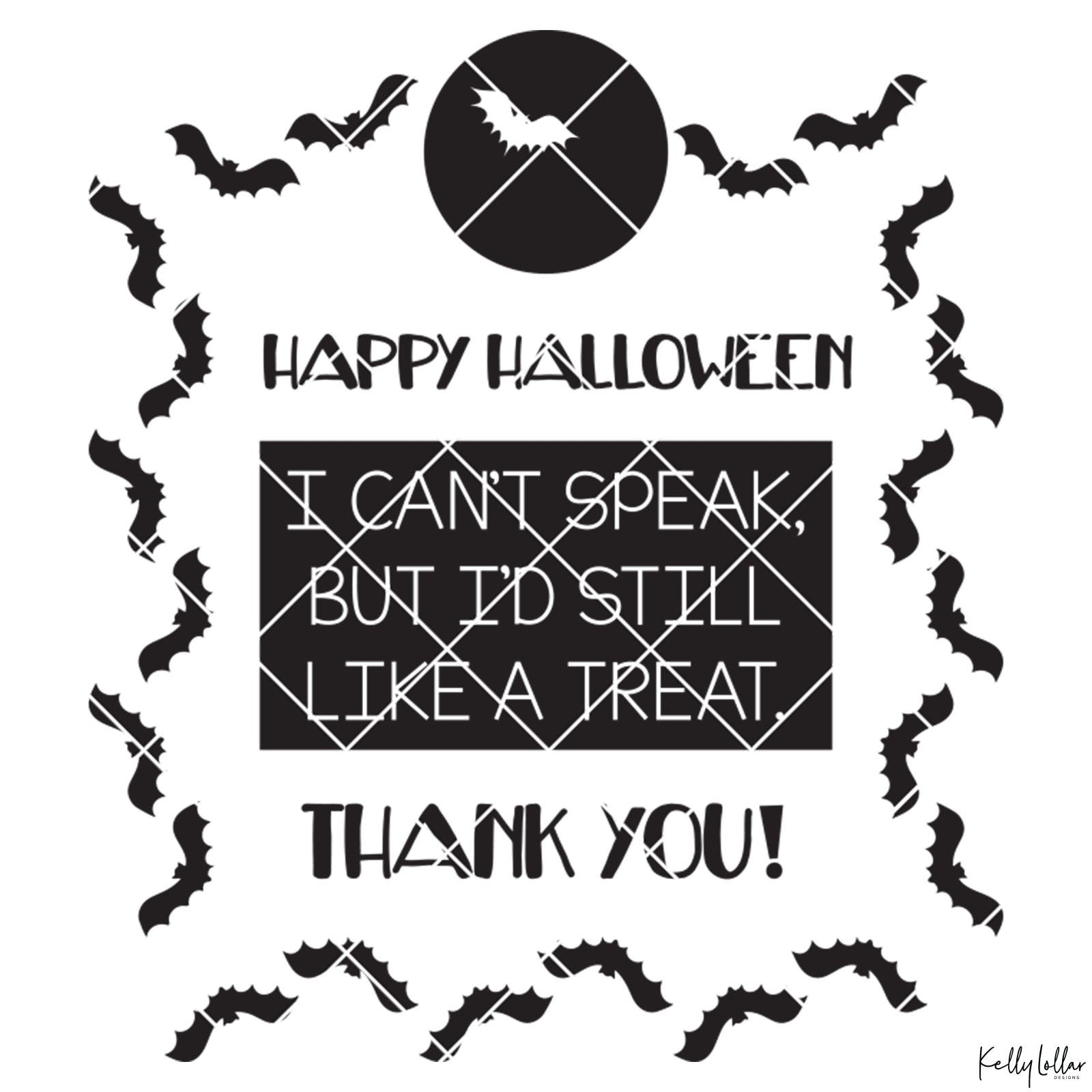 Non-Verbal Trick or Treat Bag Design with Bats | SVG DXF PNG Cut Files | Free for Commercial Use