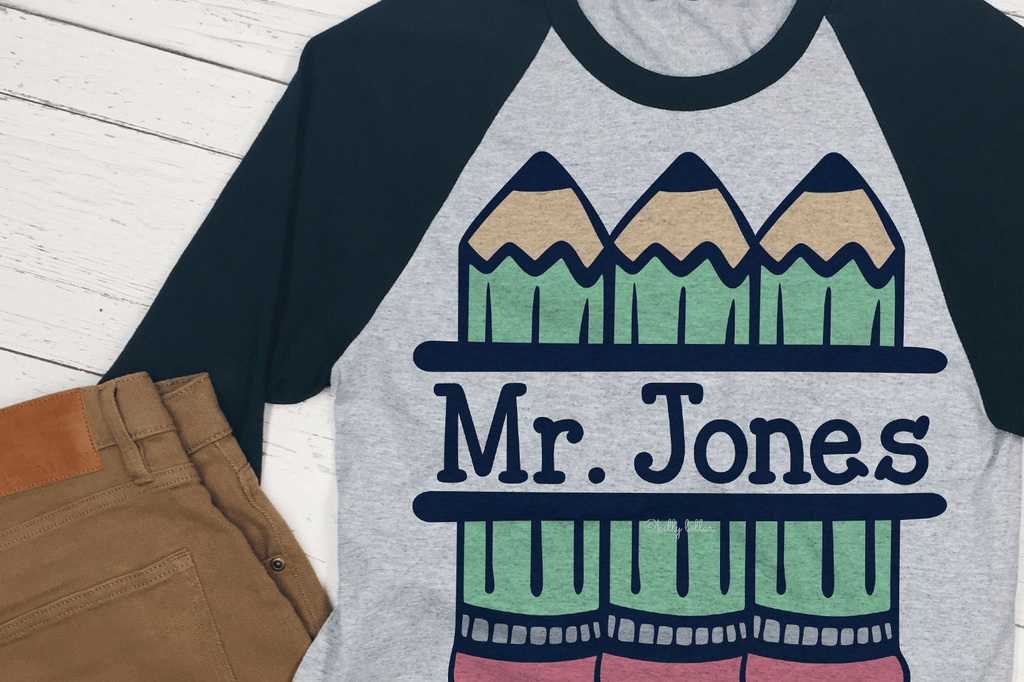 Shirt with the Pencil Split Monogram SVG DXF EPS PNG Cut Files | Free for Personal Use