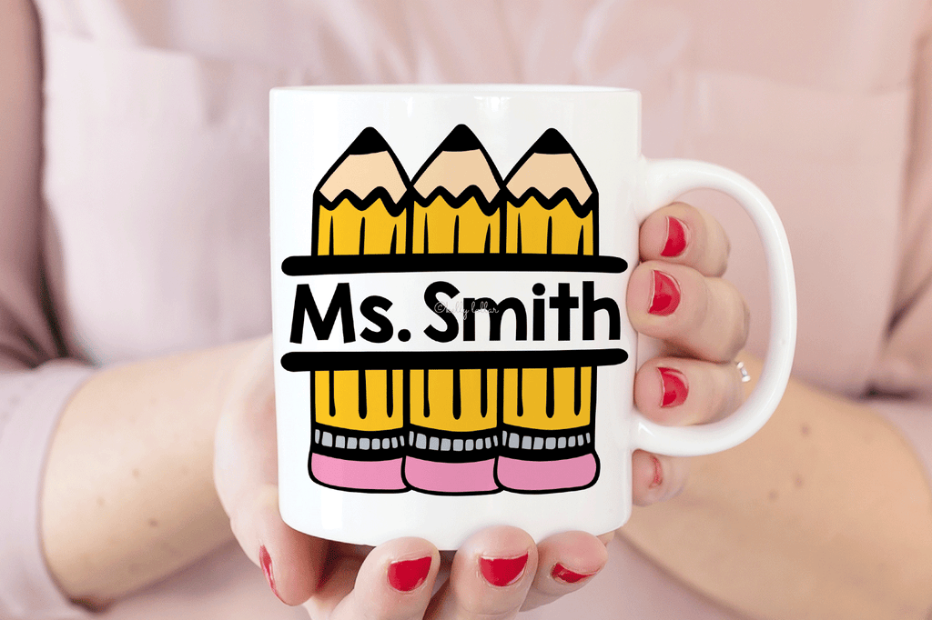 Mug with the Pencil Split Monogram SVG DXF EPS PNG Cut Files | Free for Personal Use