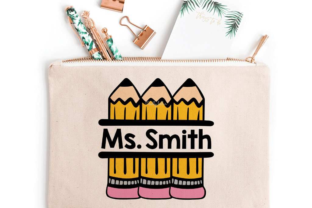 Pencil pouch with the Pencil Split Monogram SVG DXF EPS PNG Cut Files | Free for Personal Use