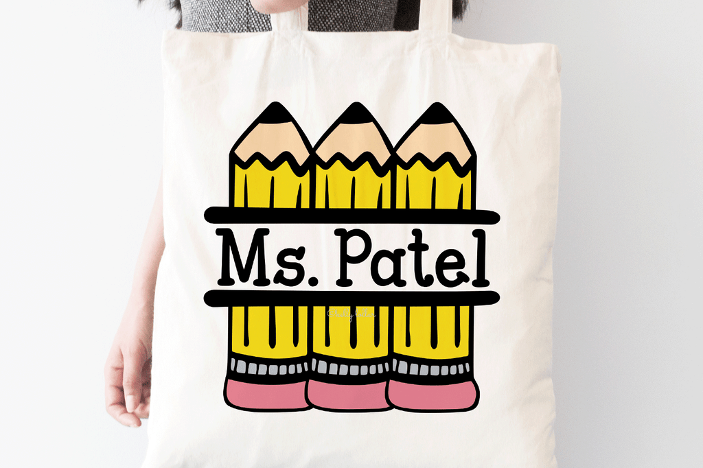 Teacher tote with the Pencil Split Monogram SVG DXF EPS PNG Cut Files | Free for Personal Use