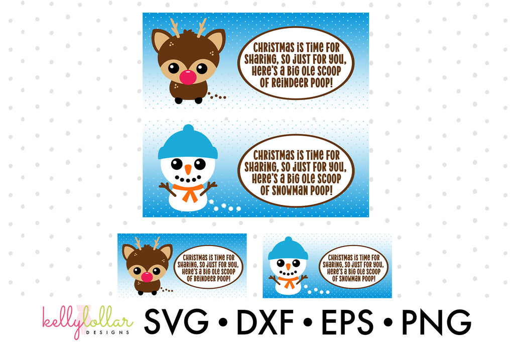 Reindeer Poop and Snowman Poop Stocking Stuffer Printables | SVG PDF EPS PNG Cut Files | Free for Personal Use
