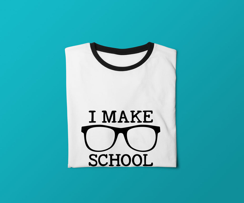 I Make School Cool SVG File on a folded shirt