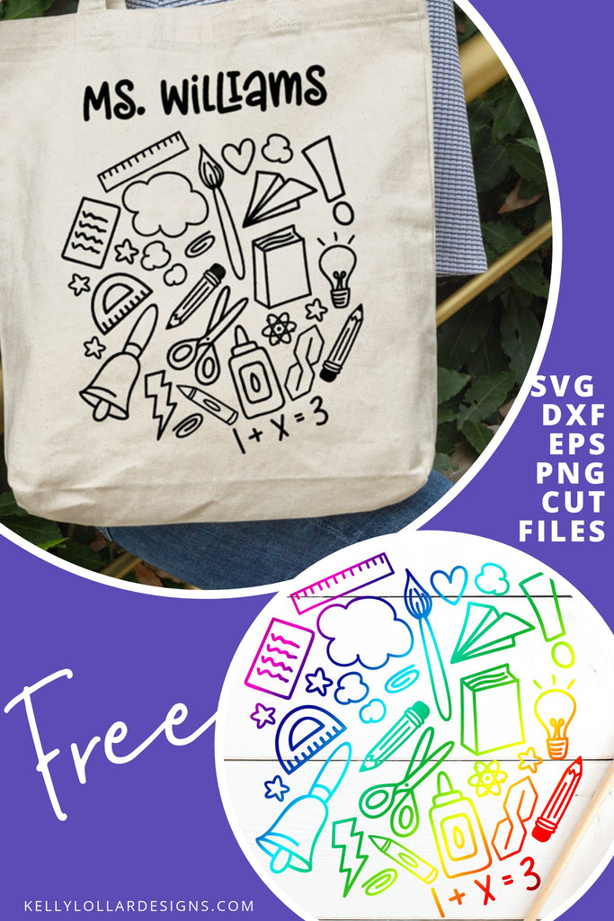 School Doodle Cloud SVG DXF EPS PNG Cut Files | Free for Personal Use