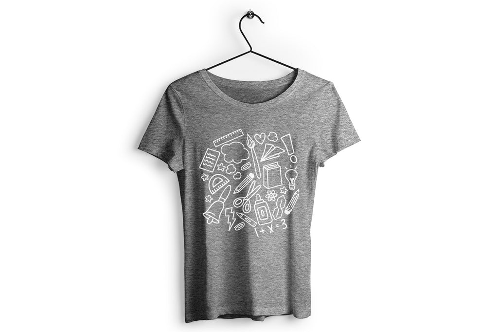 Women's grey shirt with the School Doodle Cloud svg cut file in white