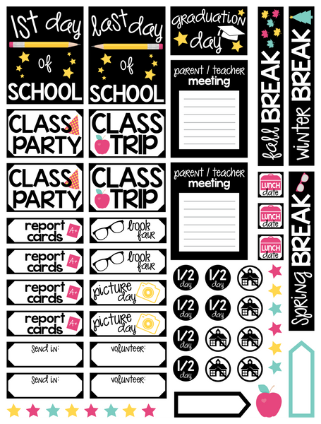 Back to School Print and Cut Planner Stickers | Free for Personal Use