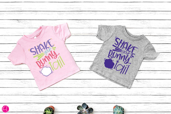 Shake Your Bunny Tail Easter Cut File on Toddler Shirts | SVG DXF EPS PNG | Free for Personal Use