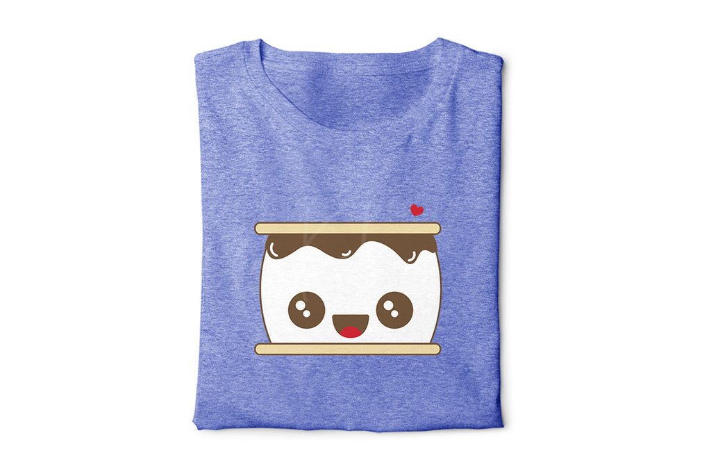 Heather blue t-shirt with the S'more svg in tan, brown, white and red
