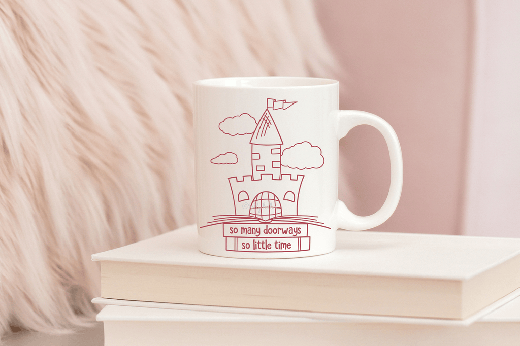 Reading time tea mug with the So Many Doorways Book Quote SVG DXF EPS PNG Cut Files | Free for Personal Use