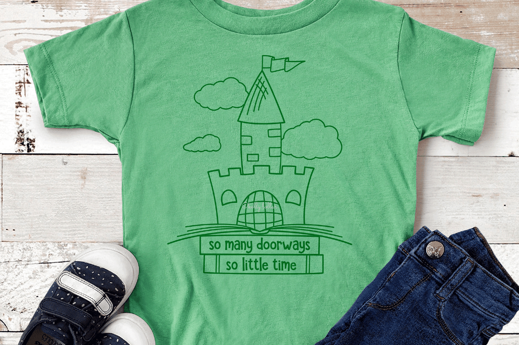 Toddler t-shirt with the So Many Doorways Book Quote SVG DXF EPS PNG Cut Files | Free for Personal Use