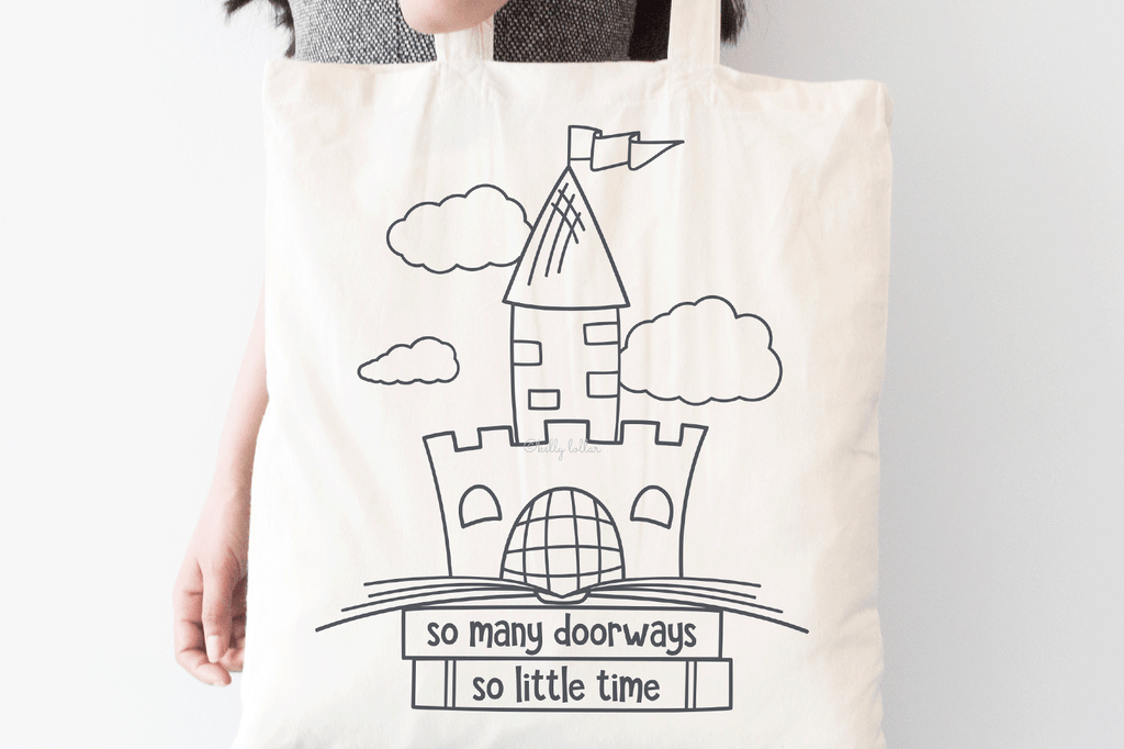 Book tote with the So Many Doorways Book Quote SVG DXF EPS PNG Cut Files | Free for Personal Use
