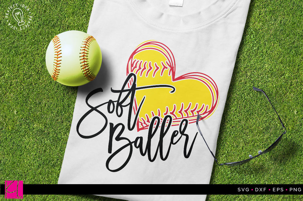 Soft Baller Softball SVG DXF EPS PNG Cut File on a sample tank top