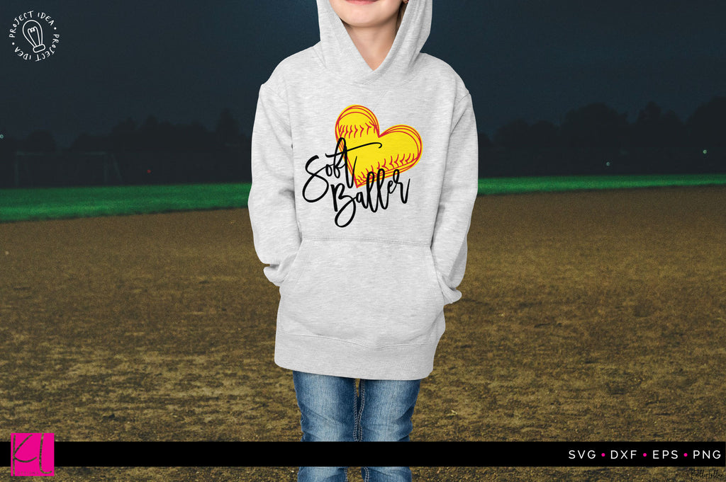 Soft Baller Softball SVG DXF EPS PNG Cut File on a sample sweatshirt