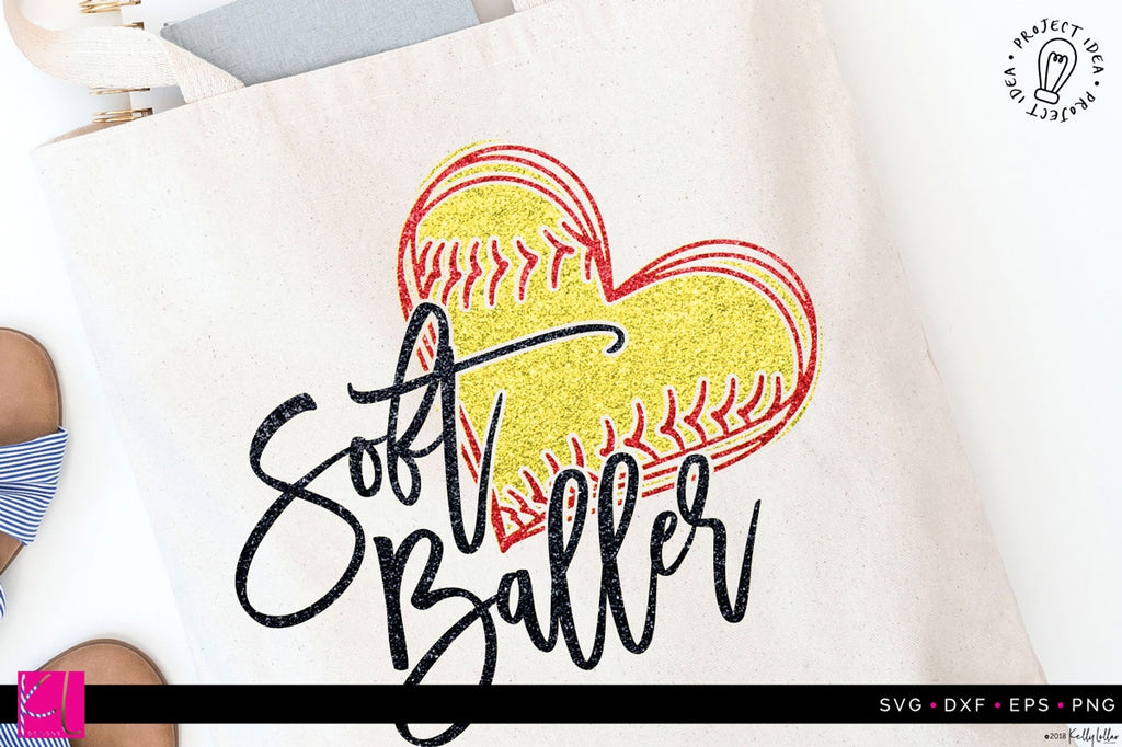 Soft Baller Softball SVF DXF EPS PNG Cut File on a sample tote