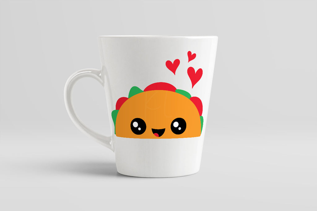 White coffee mug using the Taco svg cut file with added hearts