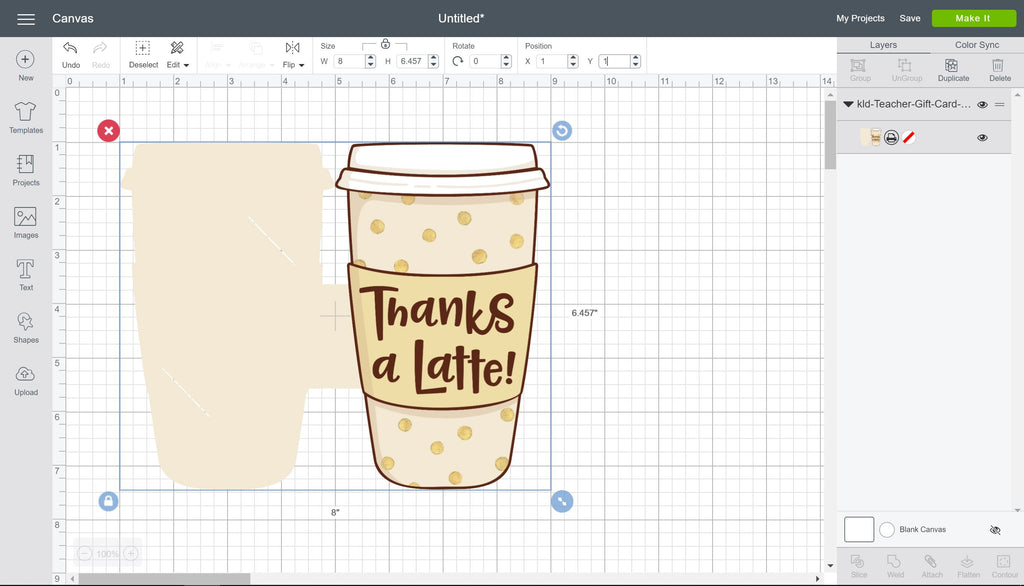 Print then Cut of the Thanks a Latte Gift Card Holder in Cricut Design Space