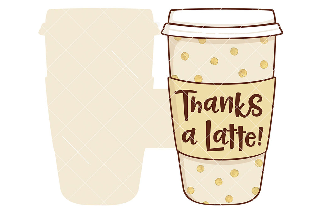 Thanks a Latte Print and Cut Gift Card Holder for Silhouette and Cricut users