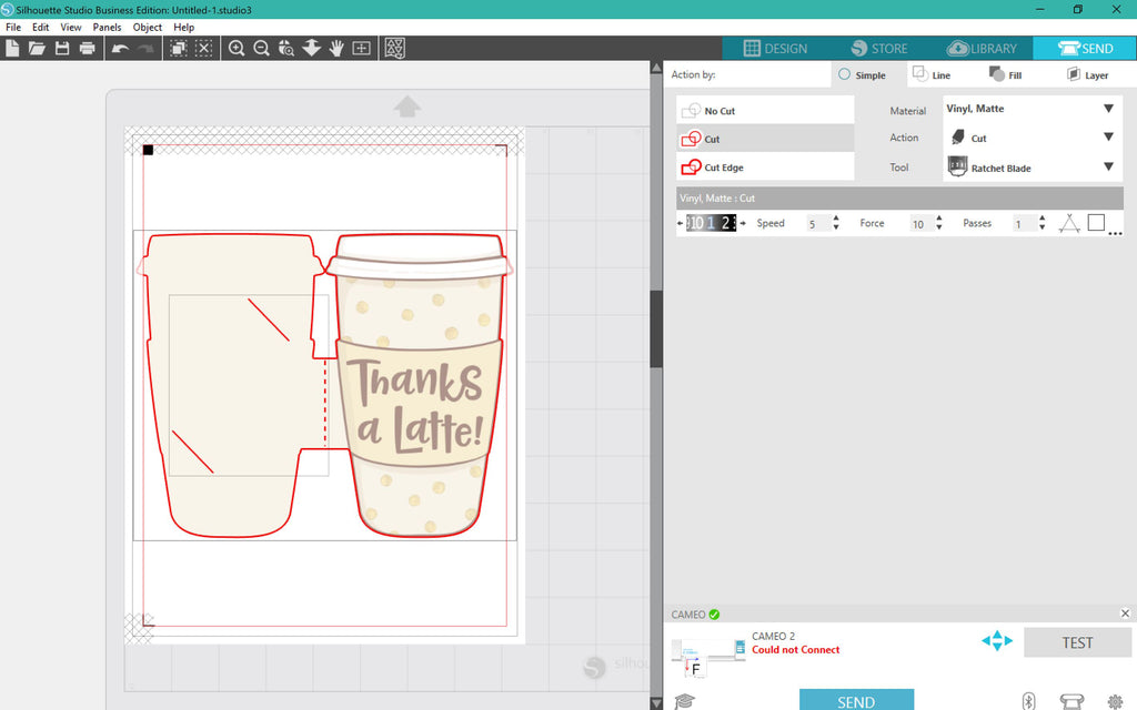 Cutting the Thanks a Latte Gift Card Holder in Silhouette Studio