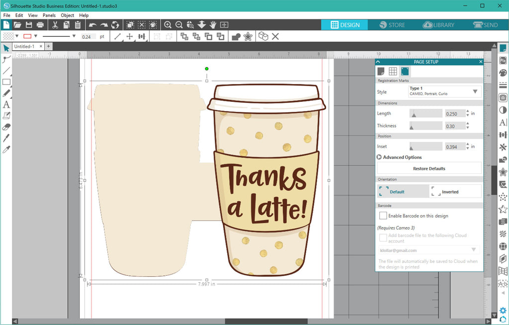Printing the Thanks a Latte Gift Card Holder in Silhouette Studio