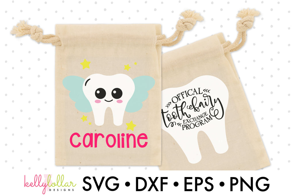 Tooth Fairy Character with Fun Quote for Tooth Fairy Bags or Felt Pouches | SVG DXF EPS PNG Cut Files | Free for Personal Use
