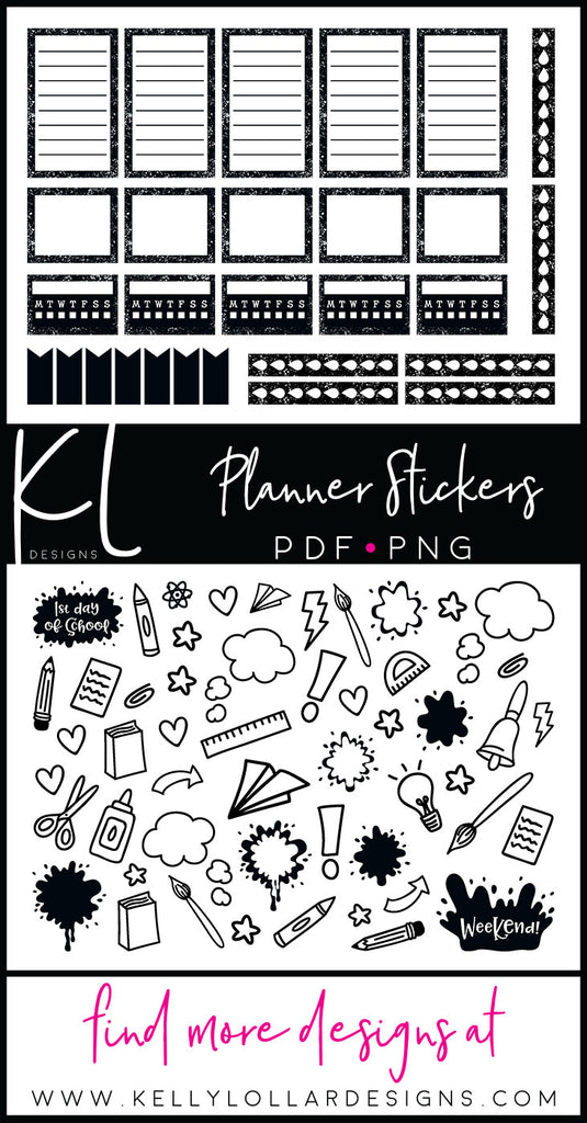 August 2018 Print and Cut Planner Sticker Set for Back to School