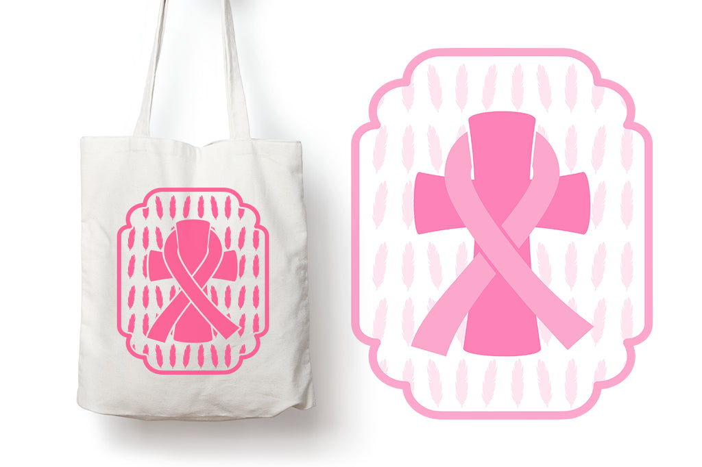 Freebie Friday | Breast Cancer Awareness Frame on a Tote | SVG DXF PNG Cut Files