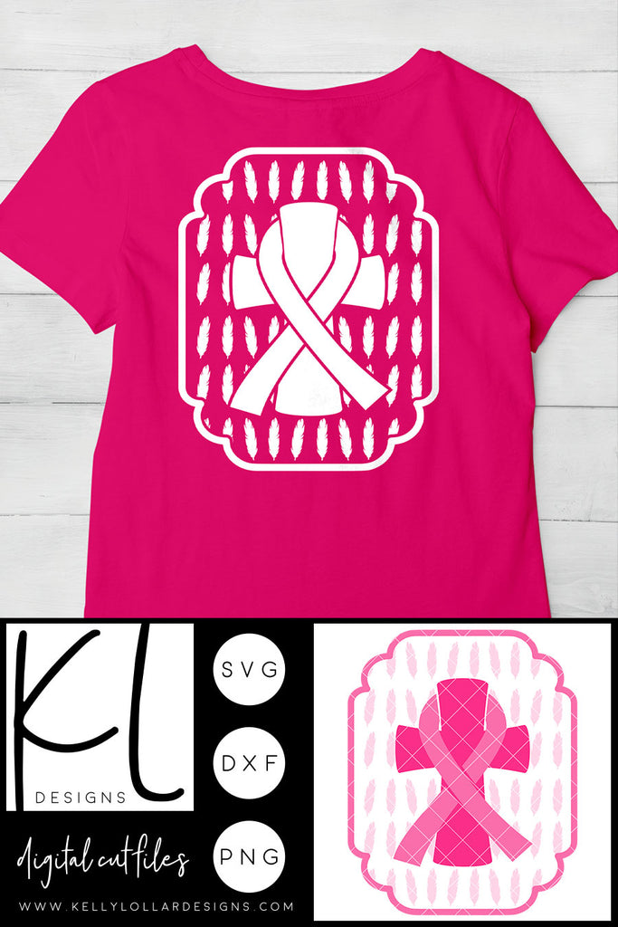 Freebie Friday | Free Commercial Use Breast Cancer Awareness SVG Cut File with Feathers | SVG DXF PNG Cut Files