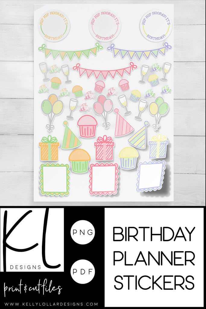 Monthly Freebie | Birthday Print and Cut Planner Stickers | PNG PDF Files