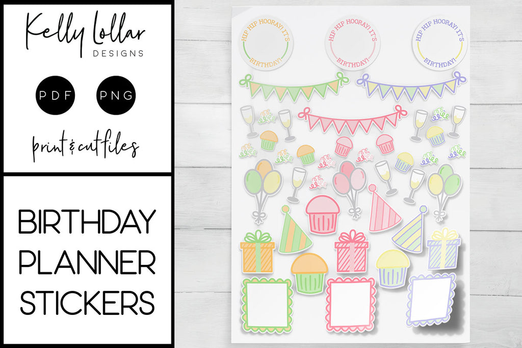 Birthday Print and Cut Planner Sticker Files | Free for Personal Use