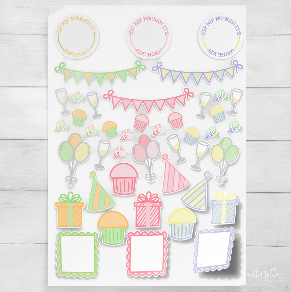 Birthday Print then Cut Planner Stickers for Silhouette and Cricut users