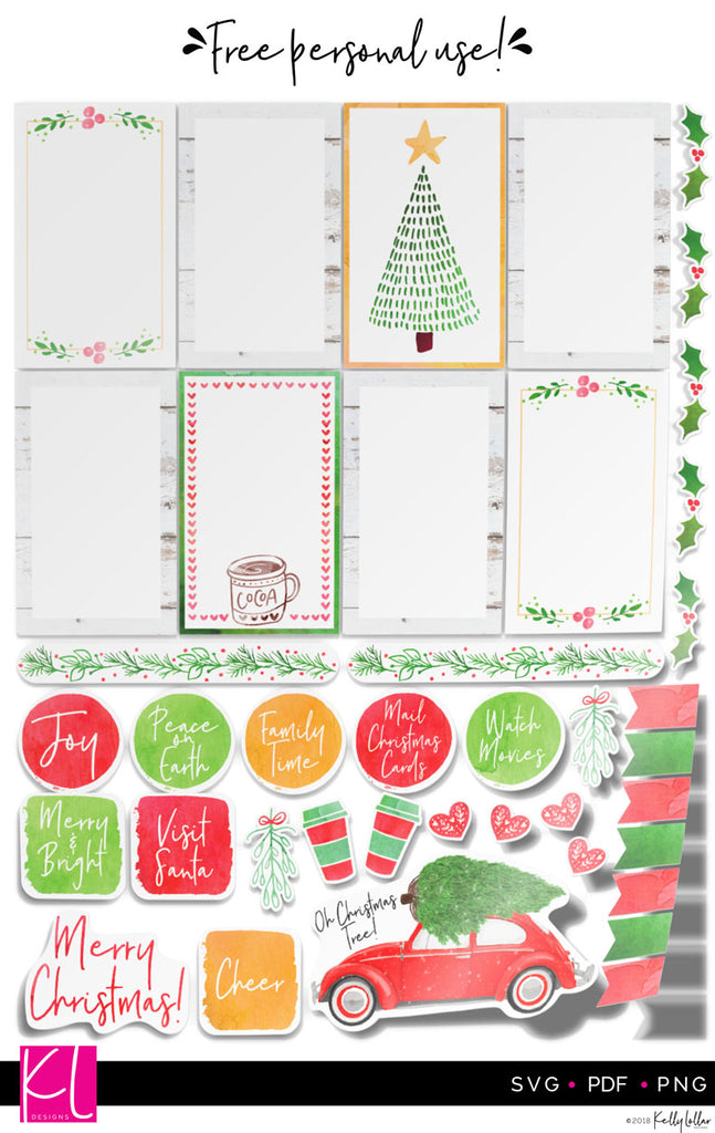 Christmas 2018 Print and Cut Planner Stickers | PNG PDF SVG | Free for Personal Use