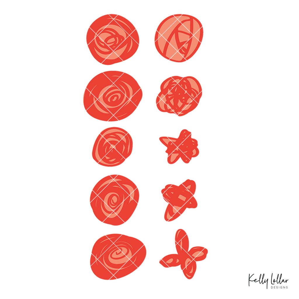 Doodle Roses | SVG DXF PNG Cut Files | Free for Commercial Use