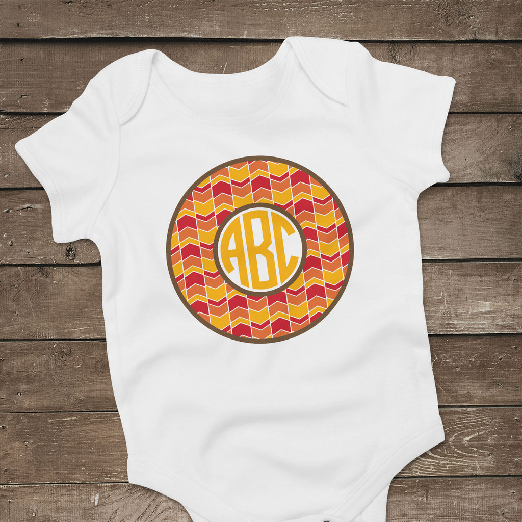 Freebie Friday | Baby Bodysuit with the Fall Monogram with Arrow Background | SVG DXF PNG Cut Files