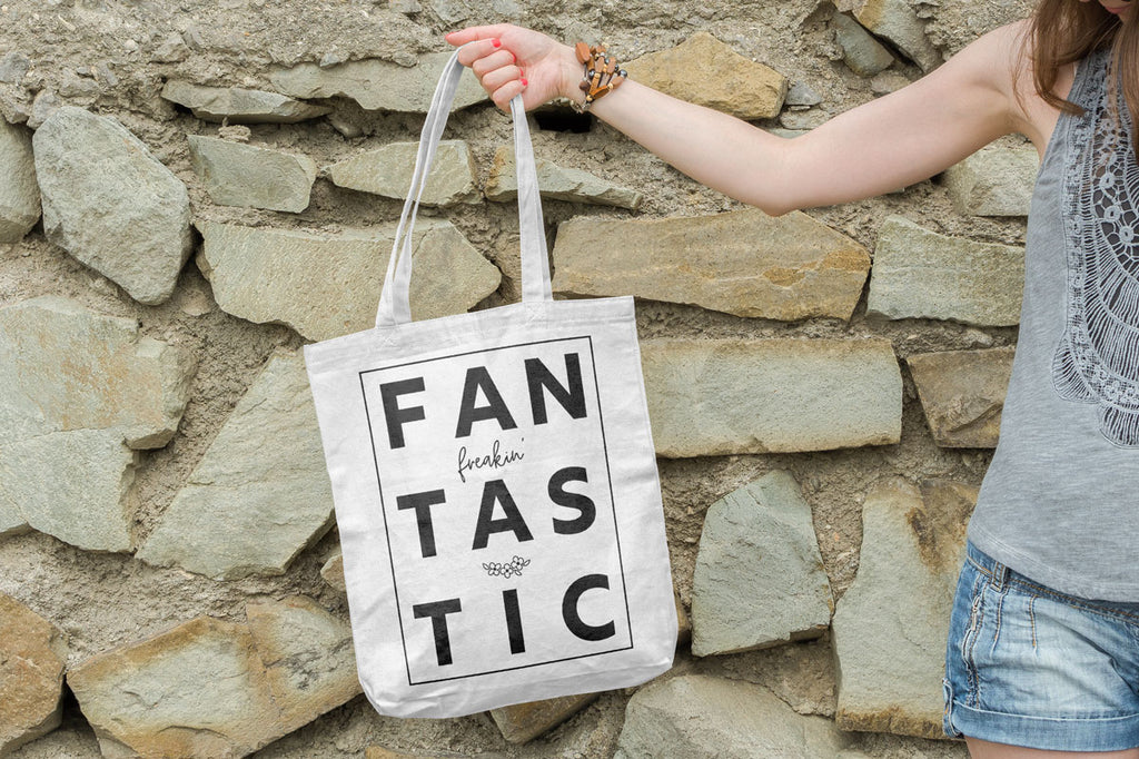 Freebie Friday | FanFreakinTastic svg cut file in black on a canvas tote