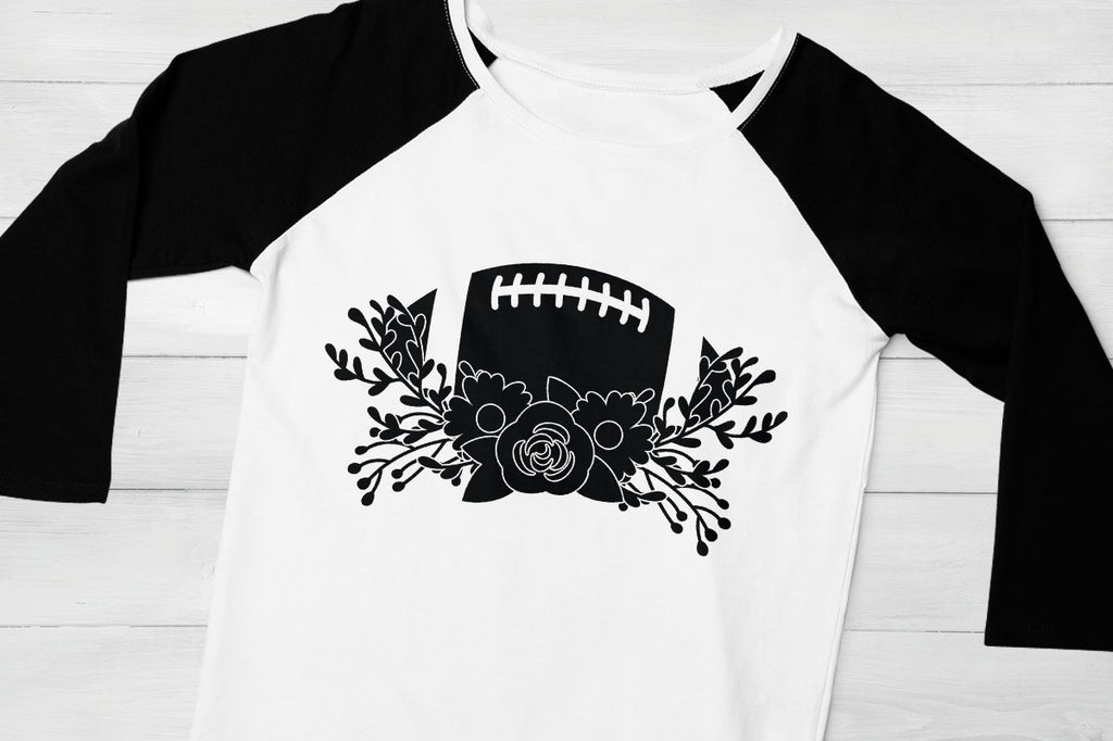 Women's black sleeved raglan shirt with the Football and Flowers svg cut file in black