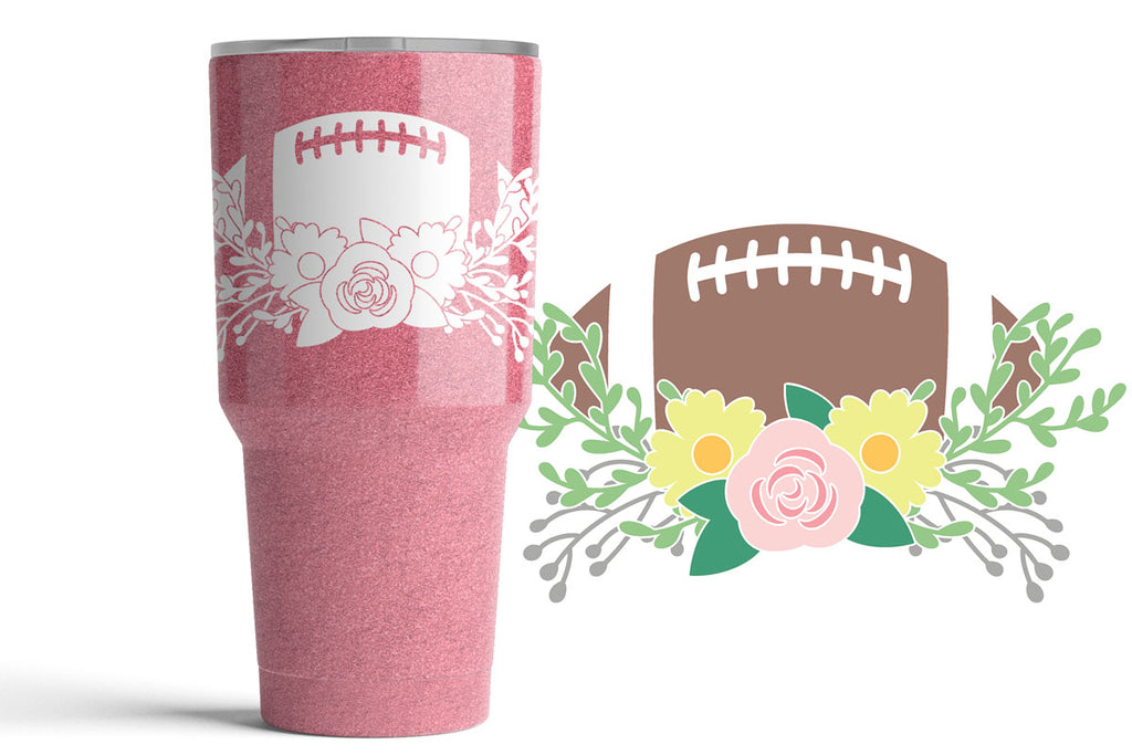 Single color version of the Football and Flowers svg cut file used on a glitter tumbler with the full color version displayed beside
