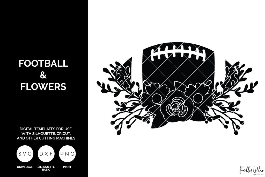 Football and Flower SVG | Freebie Friday Cut File - Single color version with built in insets