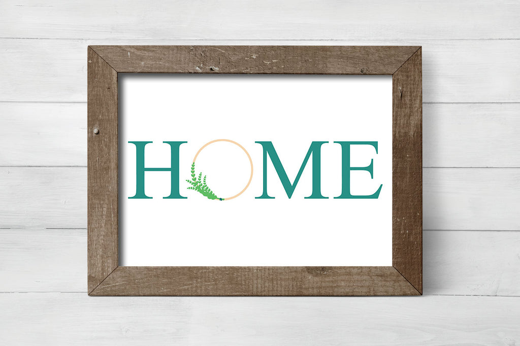 Home with Modern Wreath svg cut file framed