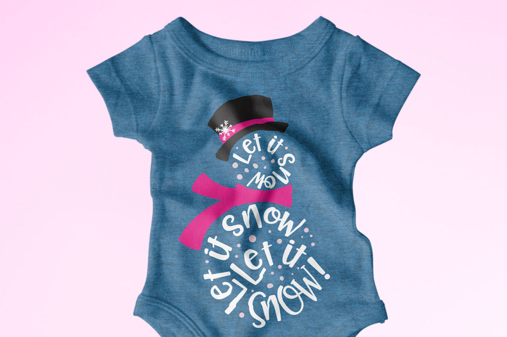 Baby Bodysuit with the Let It Snow Snowman svg cut file
