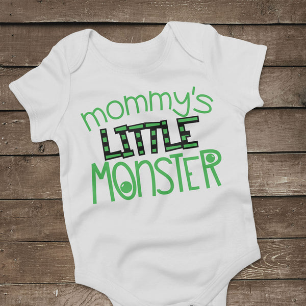 Halloween baby bodysuit with the Mommy's Little Monster svg cut file