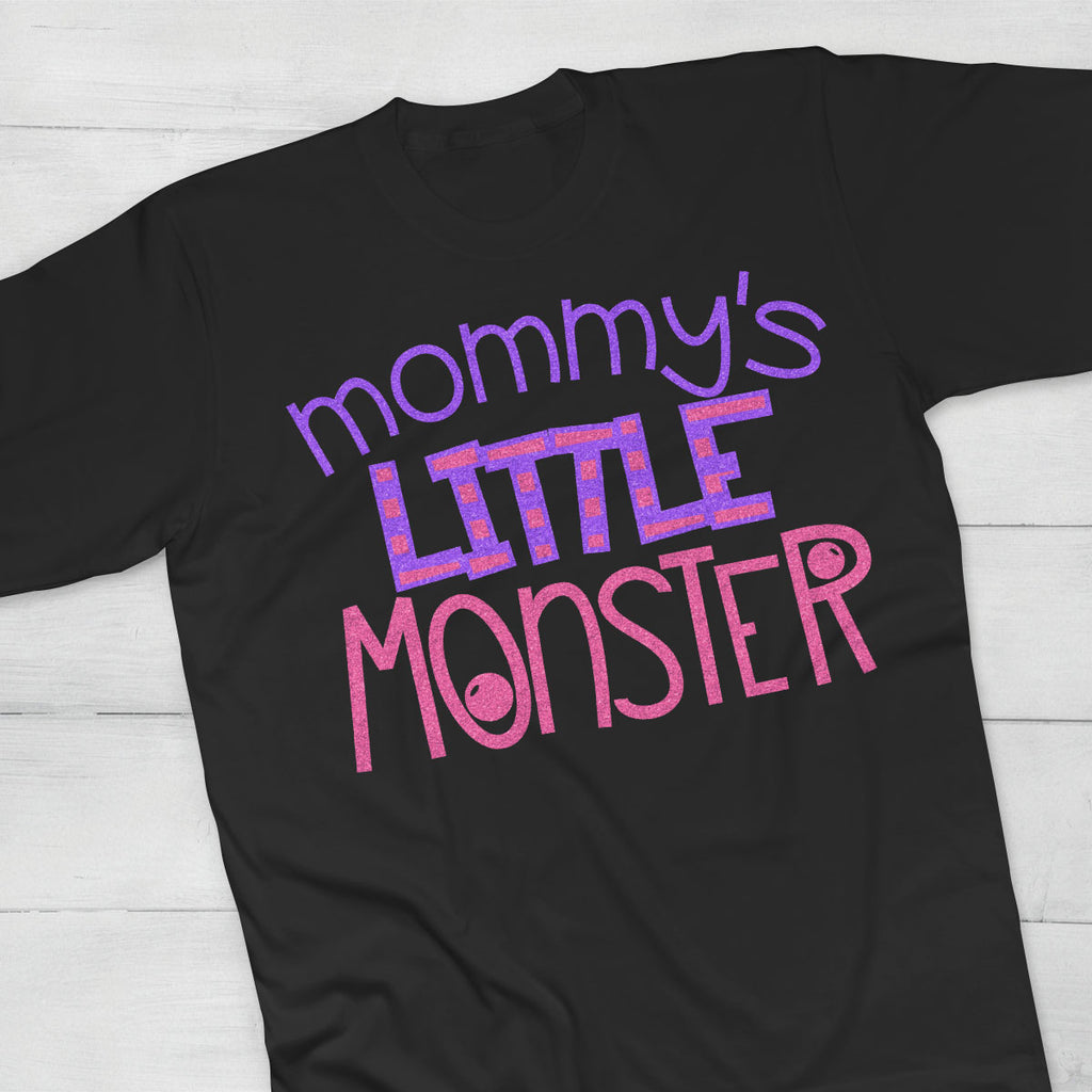 Girl's Halloween shirt with the Mommy's Little Monster svg cut file