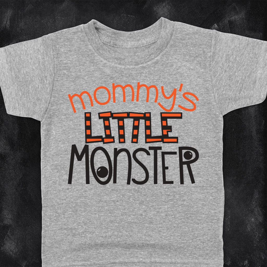 Toddler Halloween shirt with the Mommy's Little Monster svg cut file