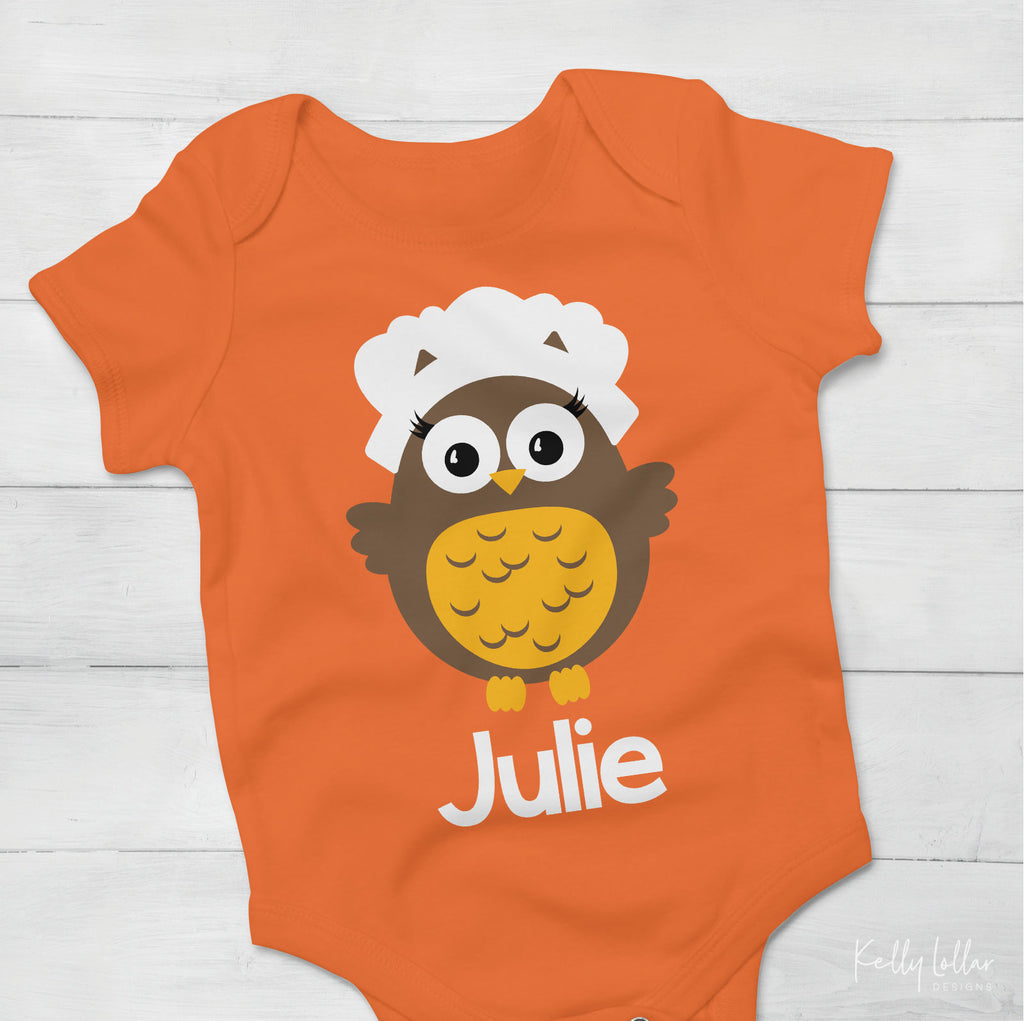 Thanksgiving baby bodysuit made with the girl pilgrim owl svg cut file and added name