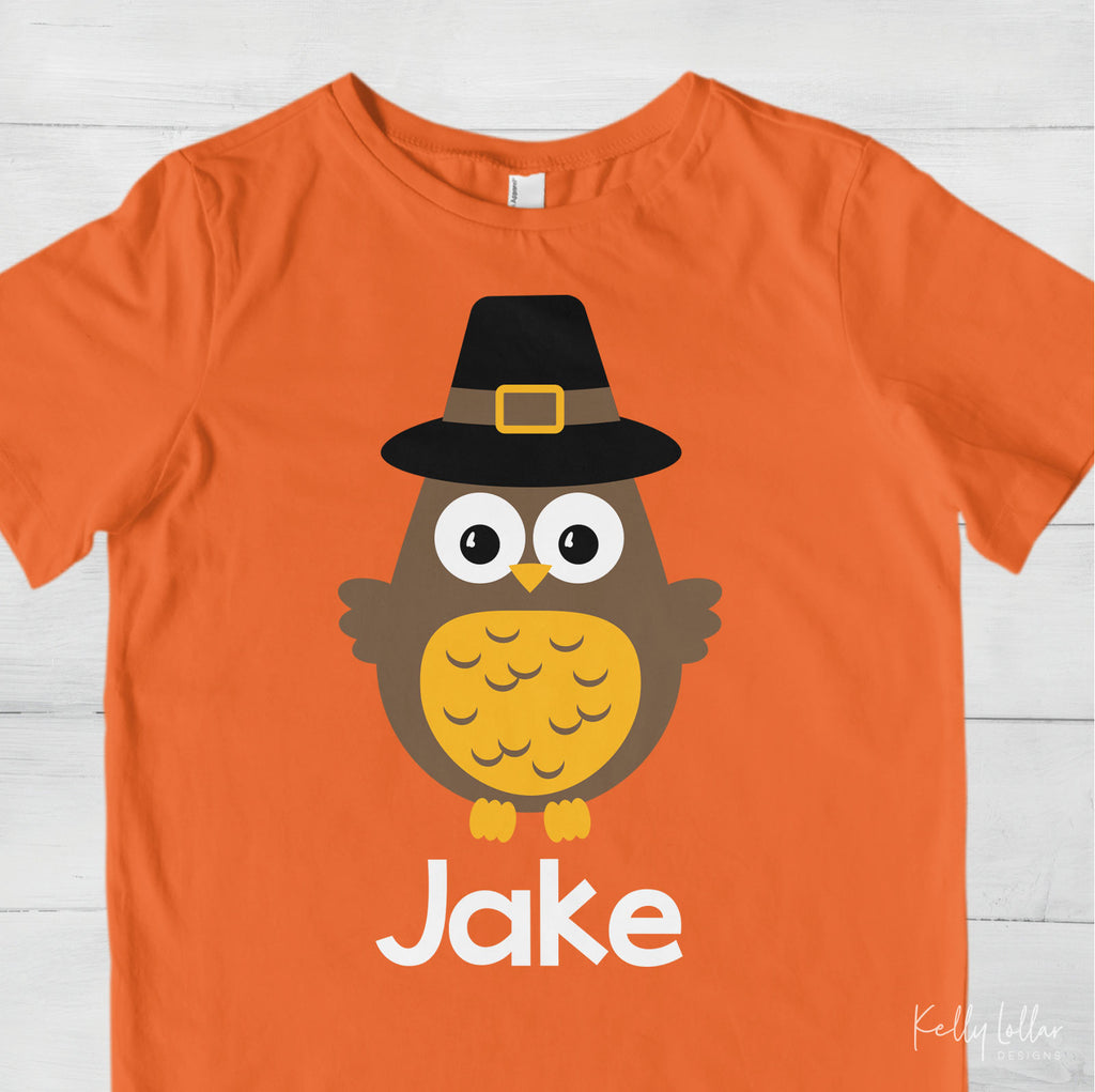 Thanksgiving toddler shirt made with the boy pilgrim owl svg cut file and added name